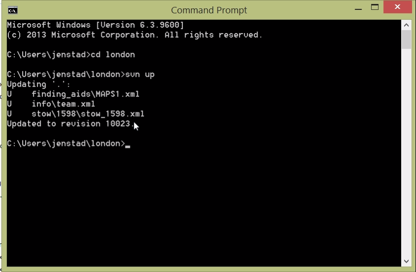 A recent SVN checkout, in the command line.