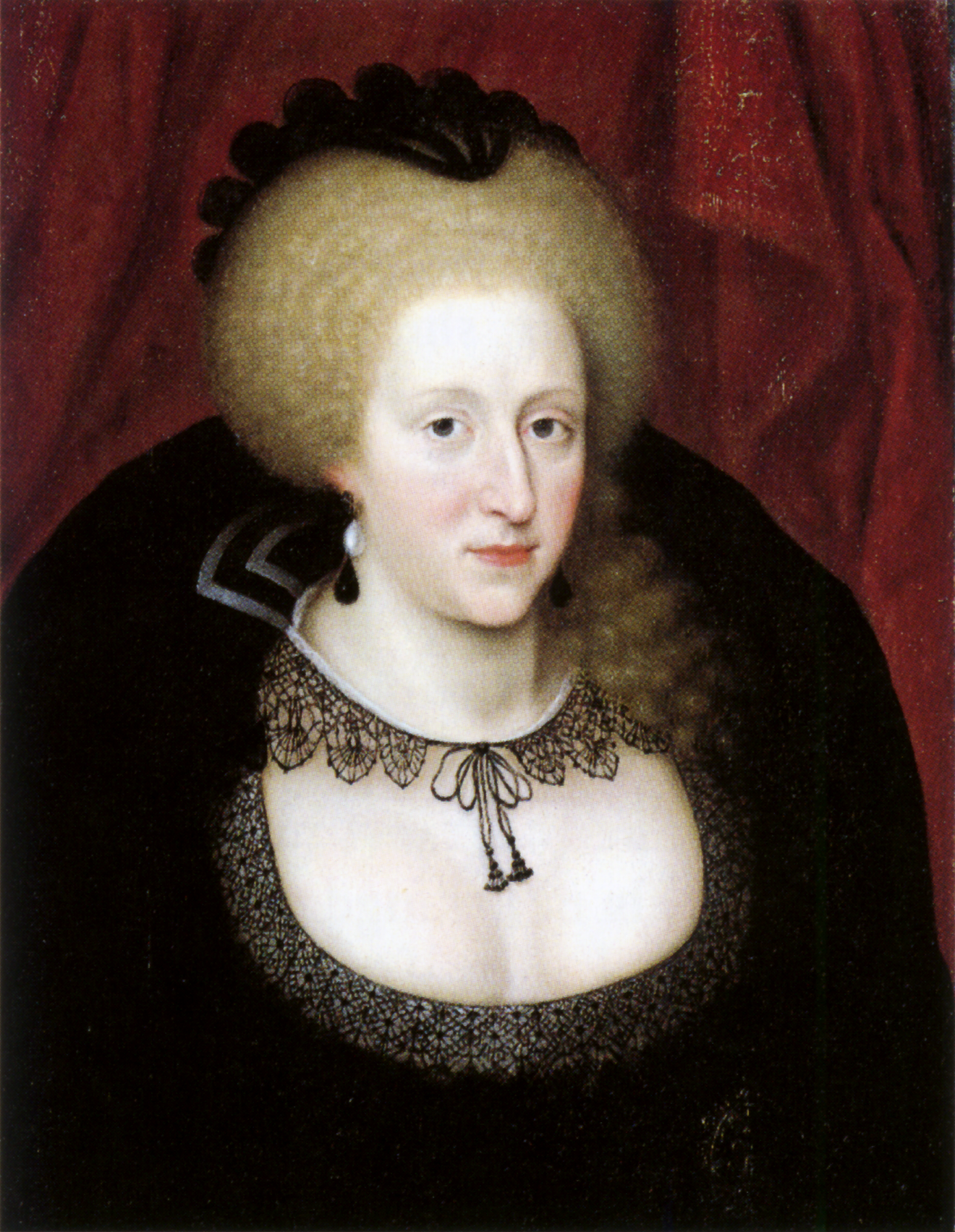 Portrait of Anne of Denmark in mourning attire by Marcus Gheeraerts the Younger. Image courtesy of the National Portrait Gallery (UK).