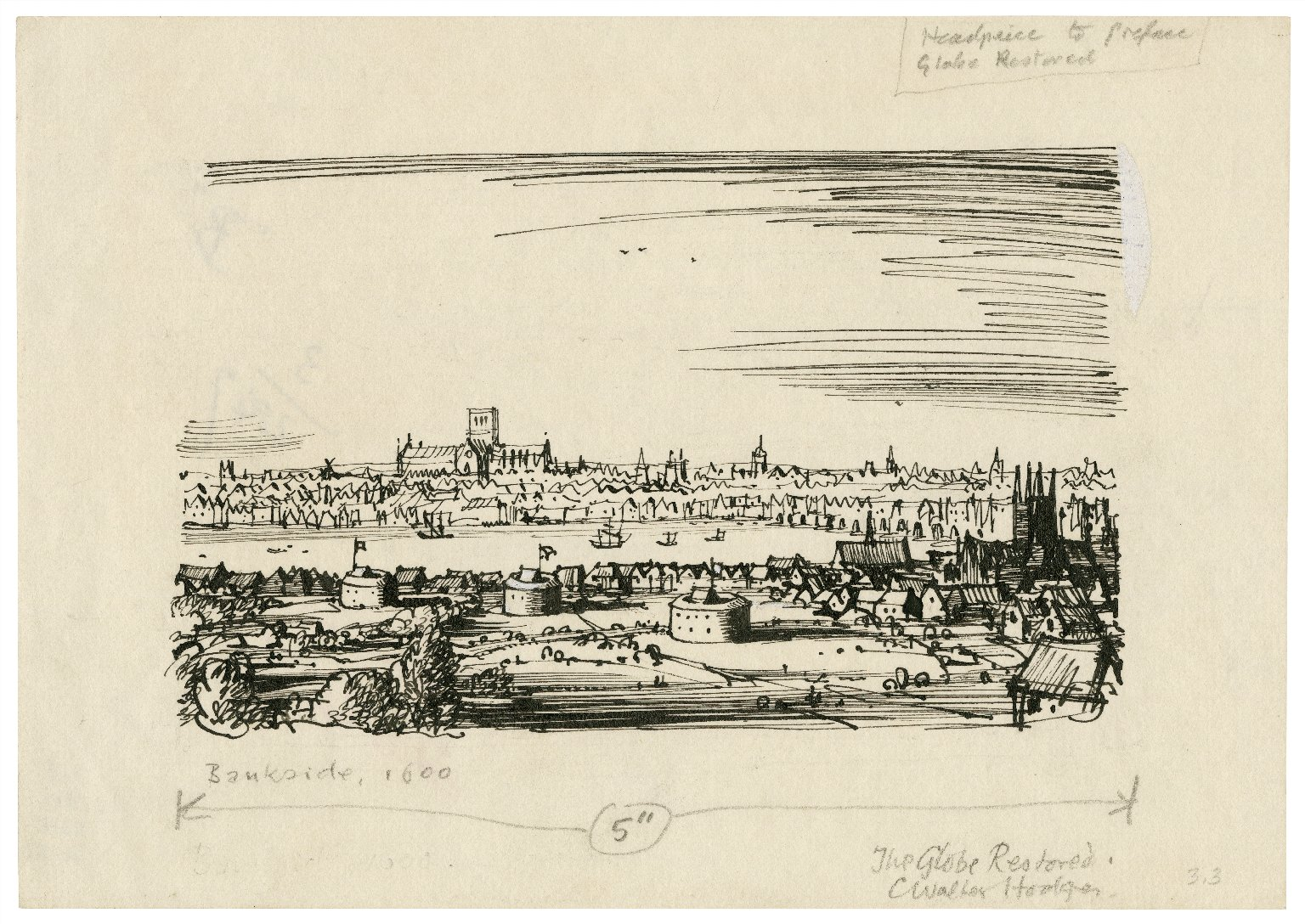 Conjectural view of Bankside by C. Walter Hodges. Image courtesy of the Folger Digital Image Collection.