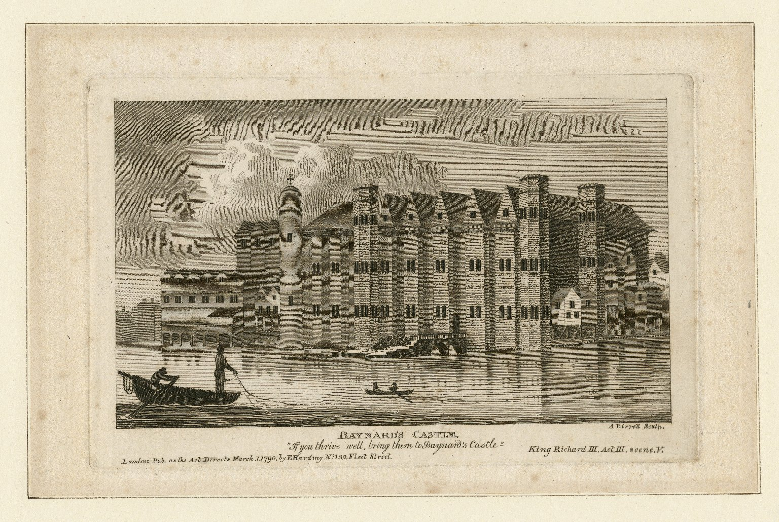 Engraving of Baynard's Castle by A. Birrell. Image courtesy of the Folger Digital Image Collection.