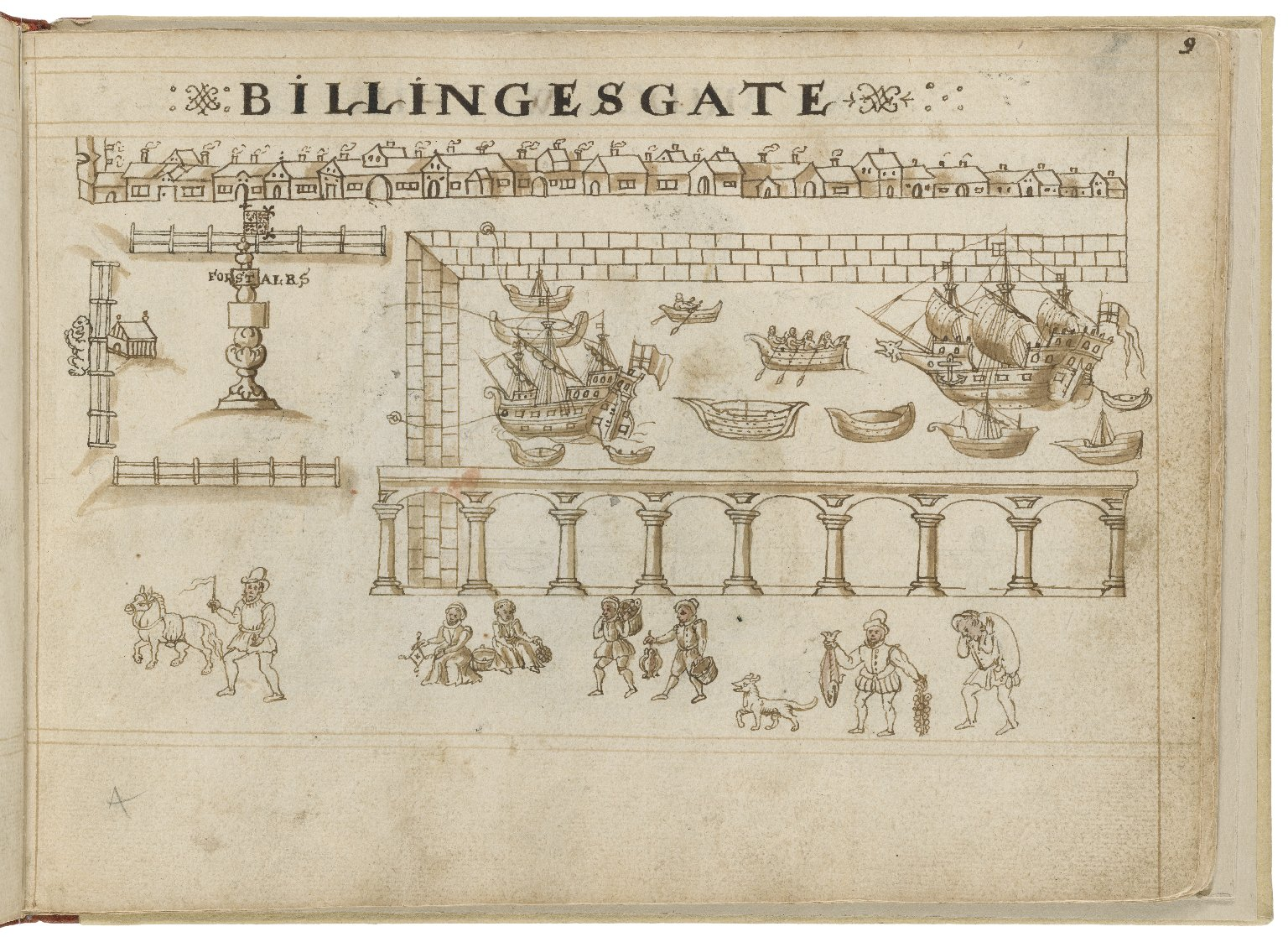 Drawing of Billingsgate by Hugh Alley. Image courtesy of the Folger Digital Image Collection.