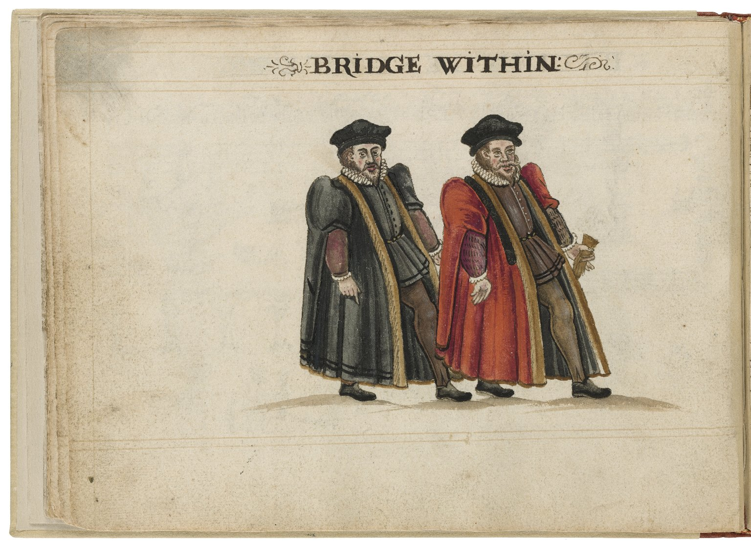 Watercolour painting of the alderman and deputy in charge of Bridge Within Ward by Hugh Alley. Image courtesy of the Folger Digital Image Collection.