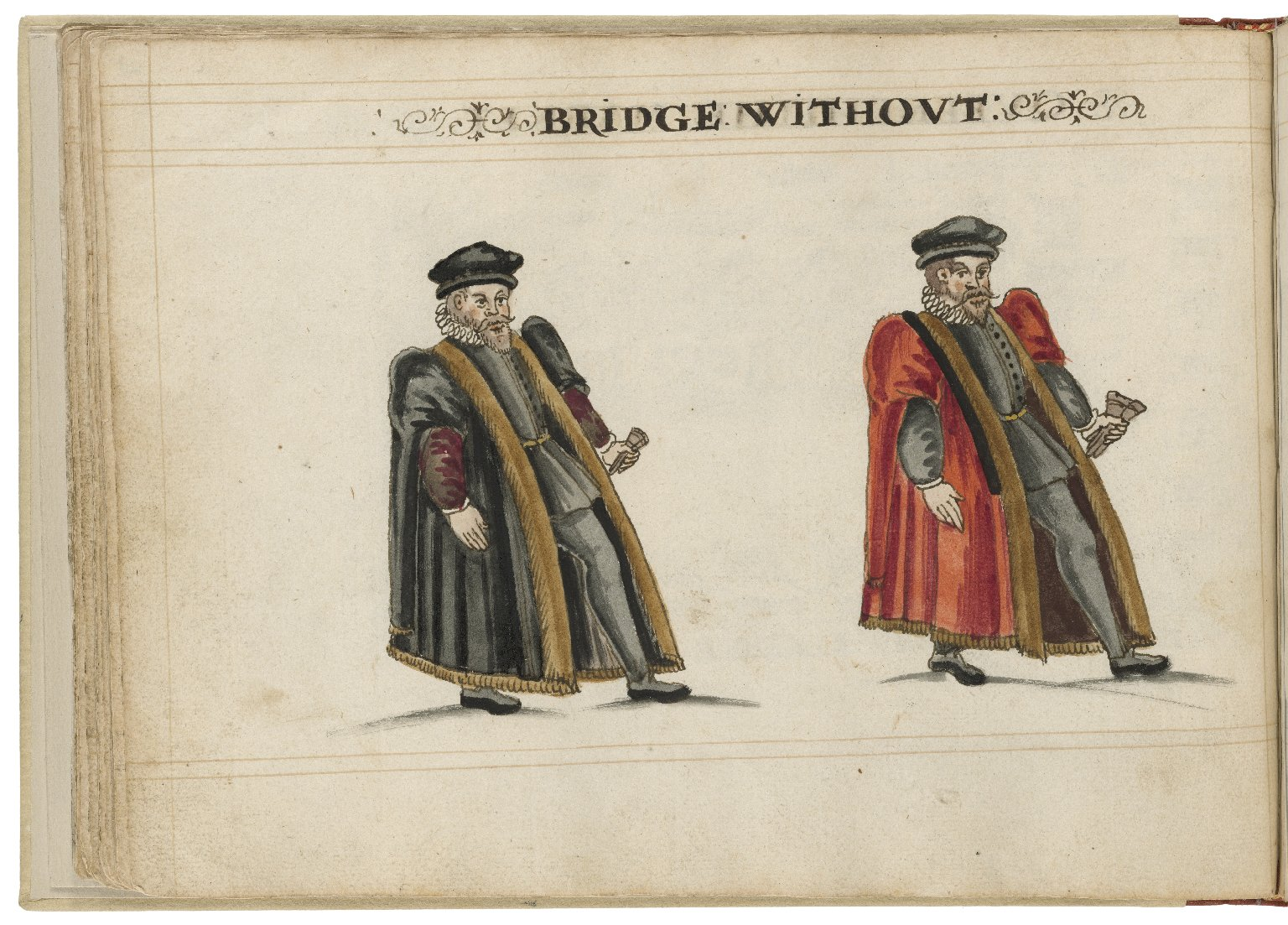Watercolour painting of the alderman and deputy in charge of Bridge Without Ward by Hugh Alley. Image courtesy of the Folger Digital Image Collection.