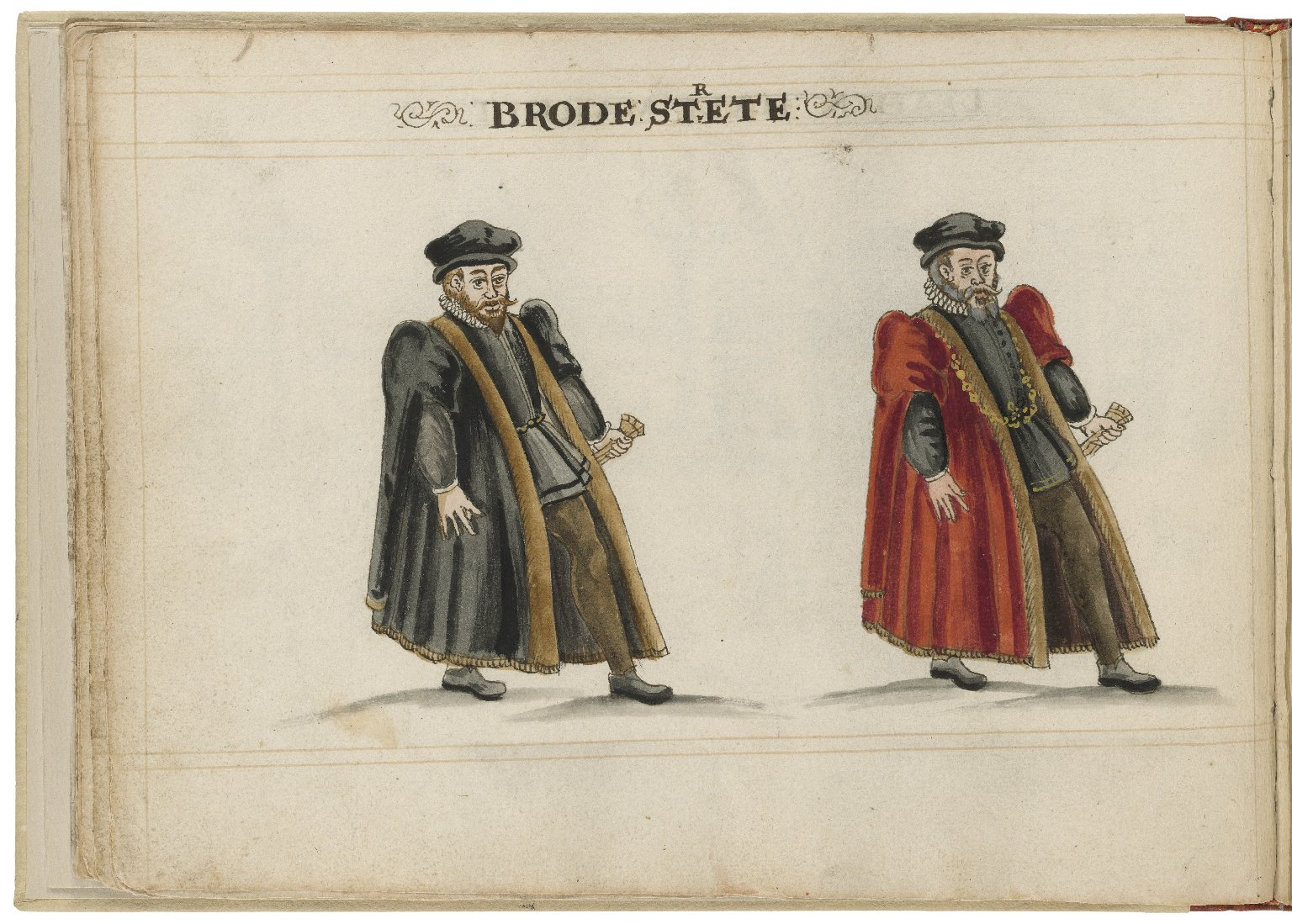 Watercolour painting of the alderman and deputy in charge of Broad Street Ward by Hugh Alley. Image courtesy of the Folger Digital Image Collection.