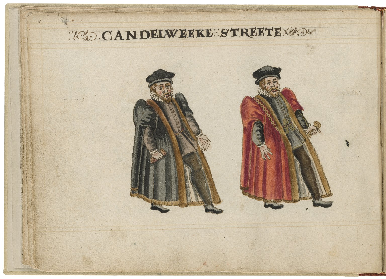 Watercolour painting of the alderman and deputy in charge of Candlewick Street Ward by Hugh Alley. Image courtesy of the Folger Digital Image Collection.