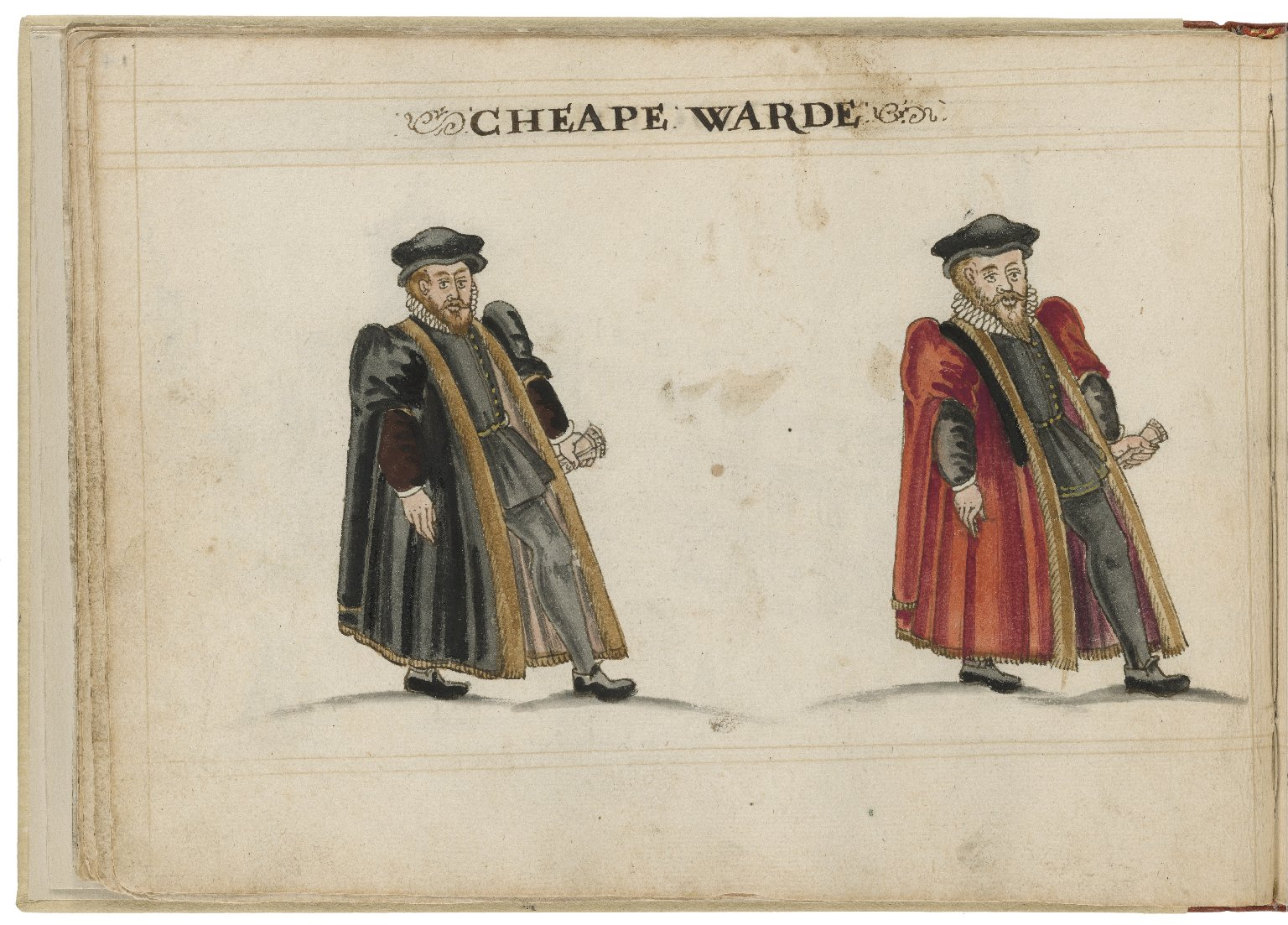 Watercolour painting of the alderman and deputy in charge of Cheap Ward by Hugh Alley. Image courtesy of the Folger Digital Image Collection.