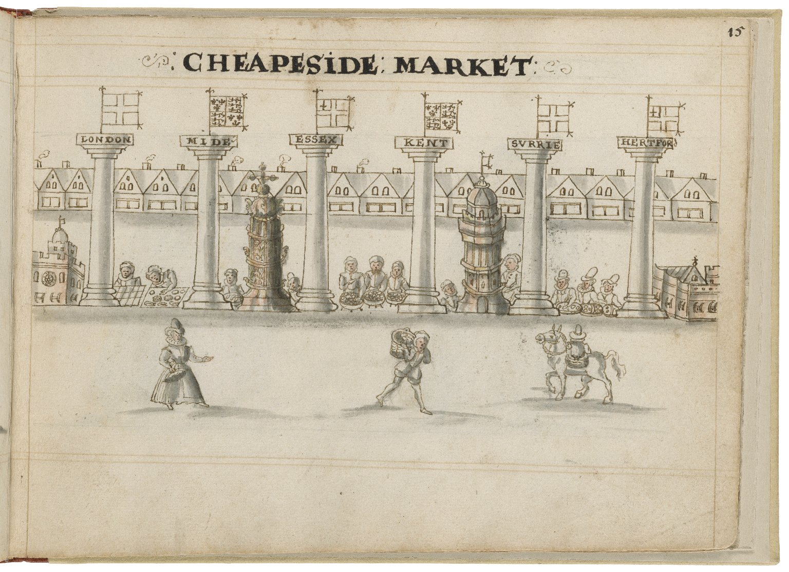 Drawing of Cheapside by Hugh Alley. Image courtesy of the Folger Digital Image Collection.