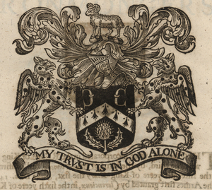 The coat of arms of the Clothworkers' Company, from Stow (1633). [Full size                   image]