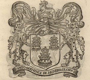 The coat of arms of the Drapers' Company, from Stow (1633).  [Full size image]