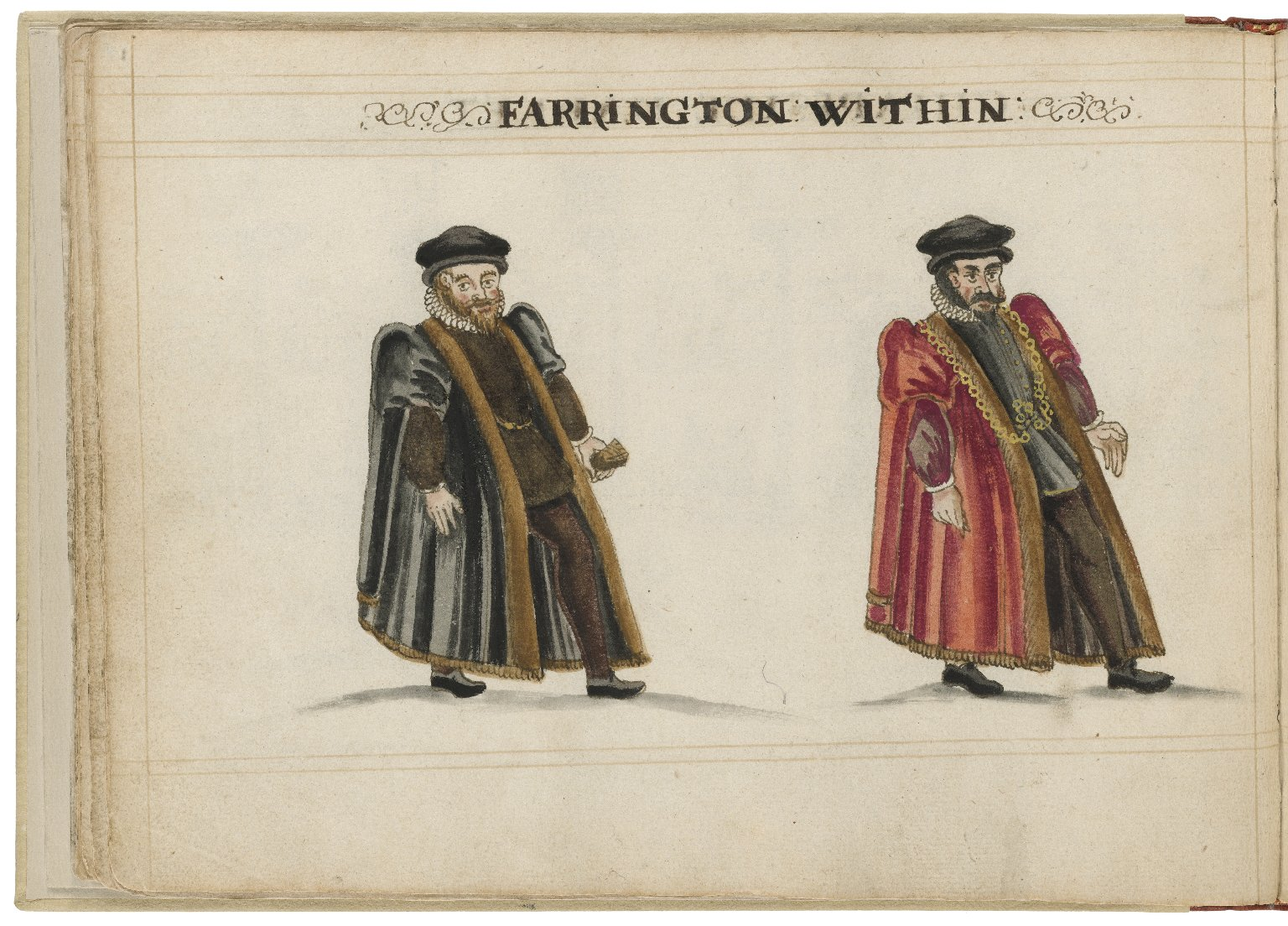 Watercolour painting of the alderman and deputy in charge of Farringdon Within Ward by Hugh Alley. Image courtesy of the Folger Digital Image Collection.