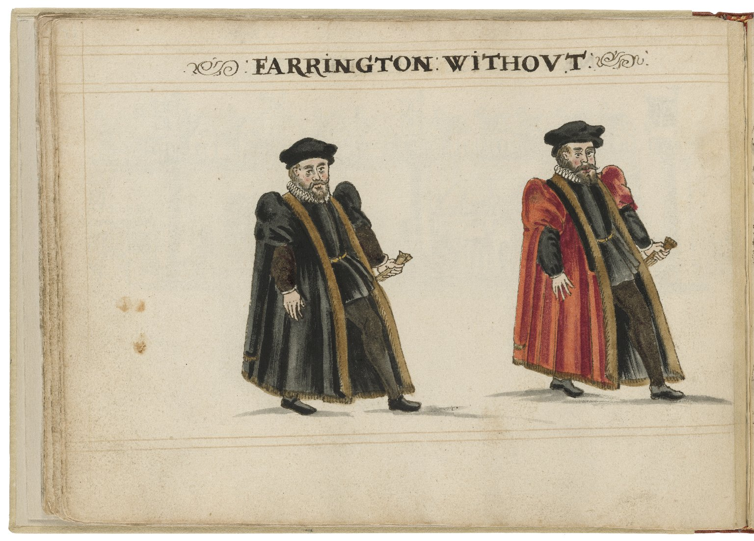 Watercolour painting of the alderman and deputy in charge of Farringdon Without Ward by Hugh Alley. Image courtesy of the Folger Digital Image Collection.