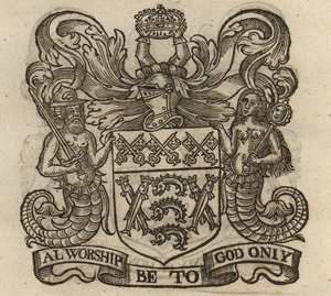 The coat of arms of the Fishmongers' Company, from Stow (1633). [Full size image]