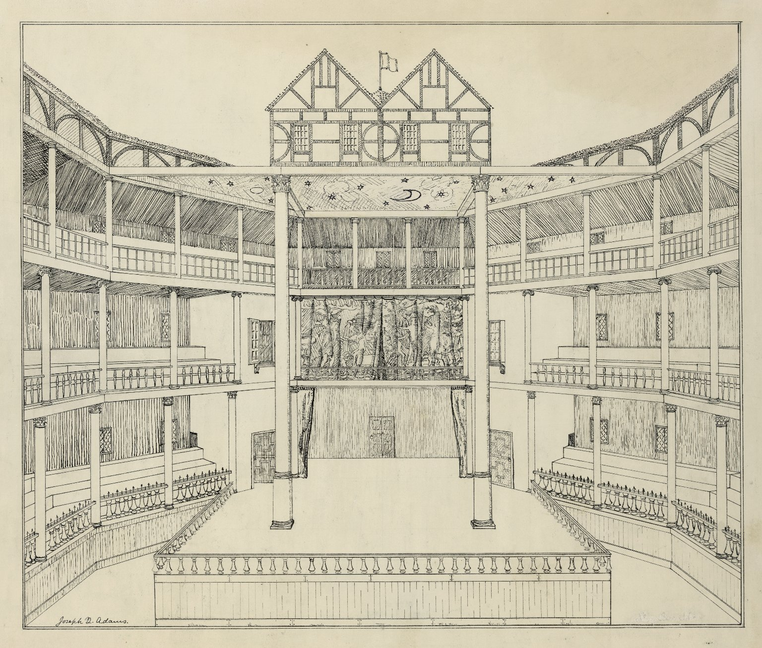 Conjectural, cut-away view of the interior of the Globe by Joseph Quincy Adams. Image courtesy of the Folger Digital Image Collection.