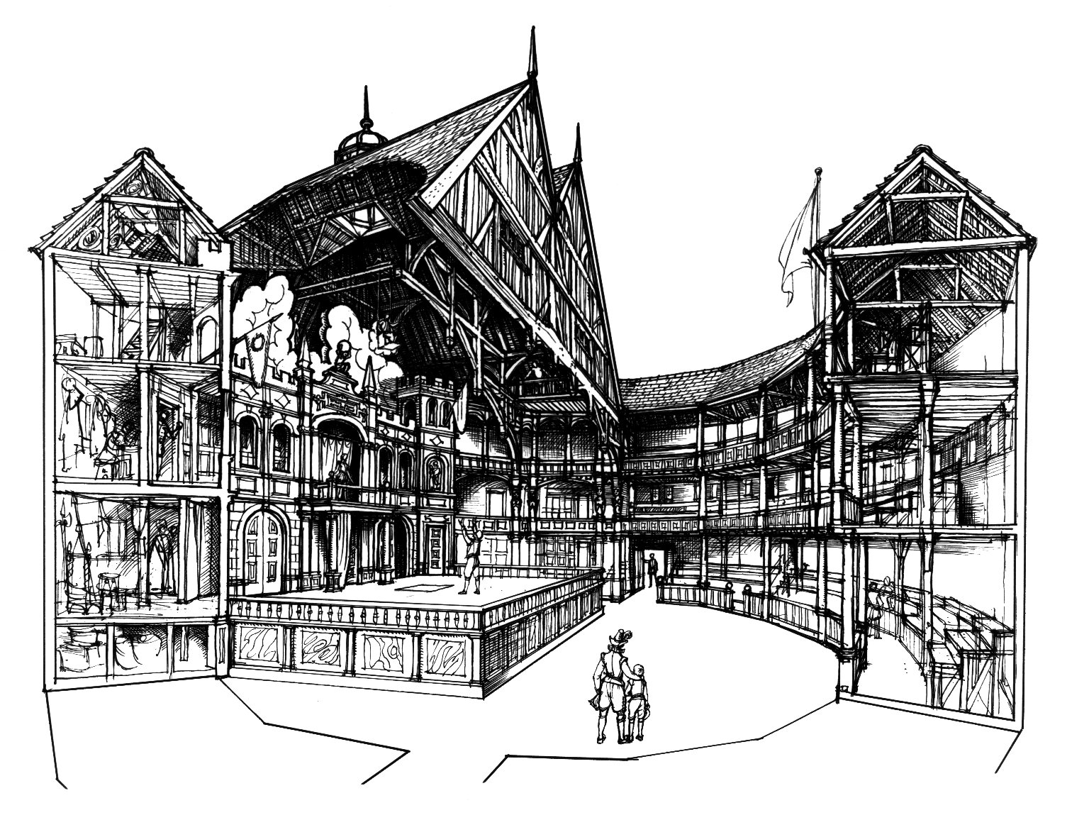 Conjectural, cut-away view of the interior of the Globe by C. Walter Hodges. Image courtesy of the Folger Digital Image Collection.
