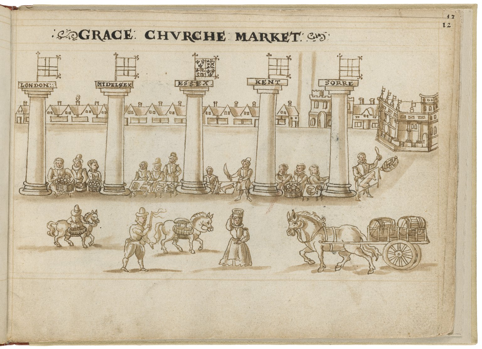 Drawing of Gracechurch by Hugh Alley. Image courtesy of the Folger Digital Image Collection.