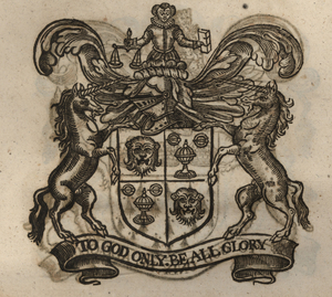 The coat of arms of the Goldsmiths' Company, from Stow (1633). [Full size image]