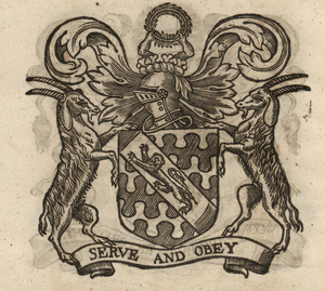 The coat of arms of the Haberdashers' Company, from Stow (1633). [Full size image]