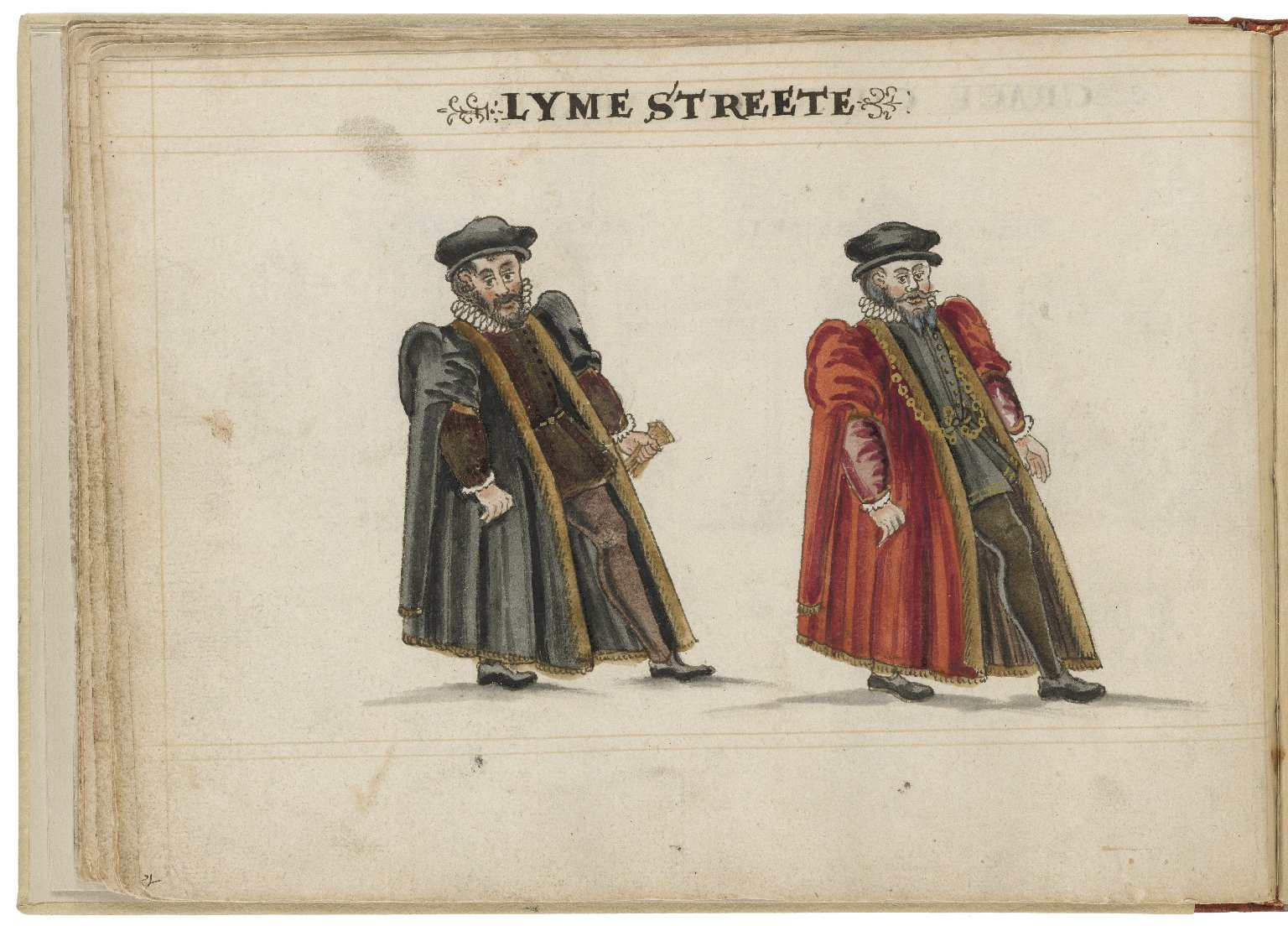 Watercolour painting of the alderman and deputy in charge of Lime Street Ward by Hugh Alley. Image courtesy of the Folger Digital Image Collection.