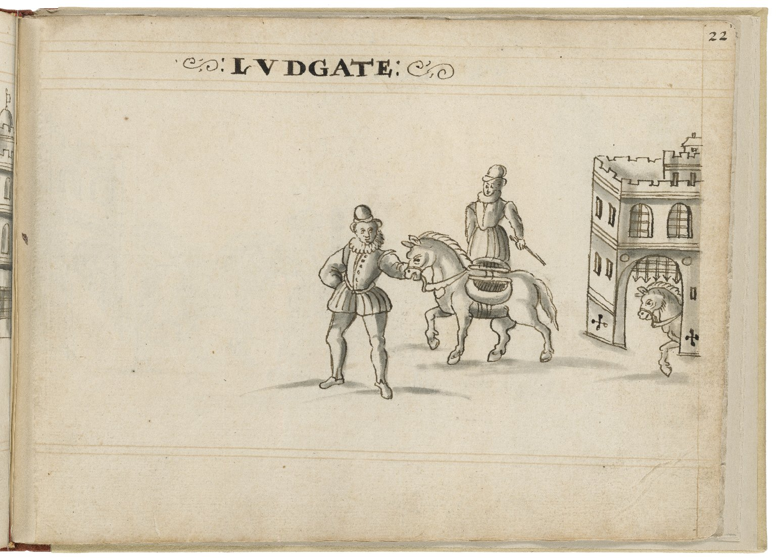 Drawing of Ludgate by Hugh Alley. Image courtesy of the Folger Digital Image Collection.