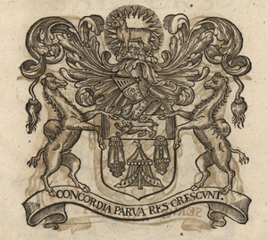 The coat of arms of the Merchant Taylors'                     Company, from Stow (1633).                     [Full size                     image]