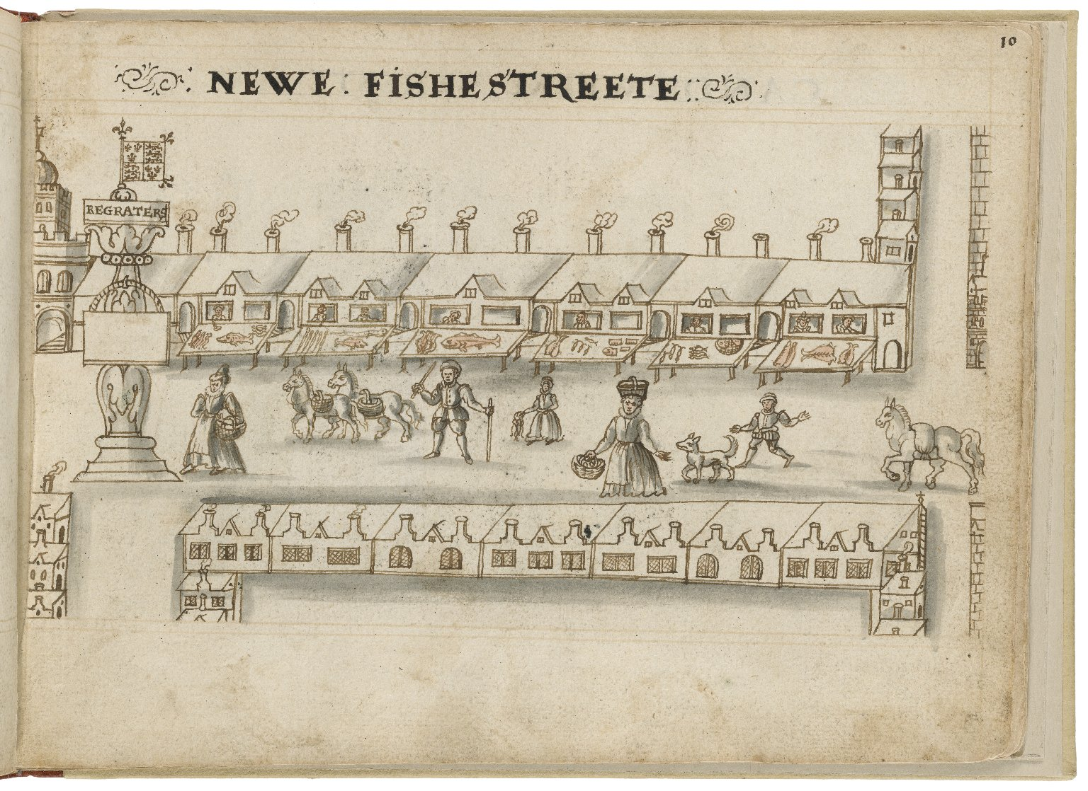 Drawing of New Fish Street by Hugh Alley. Image courtesy of the Folger Digital Image Collection.