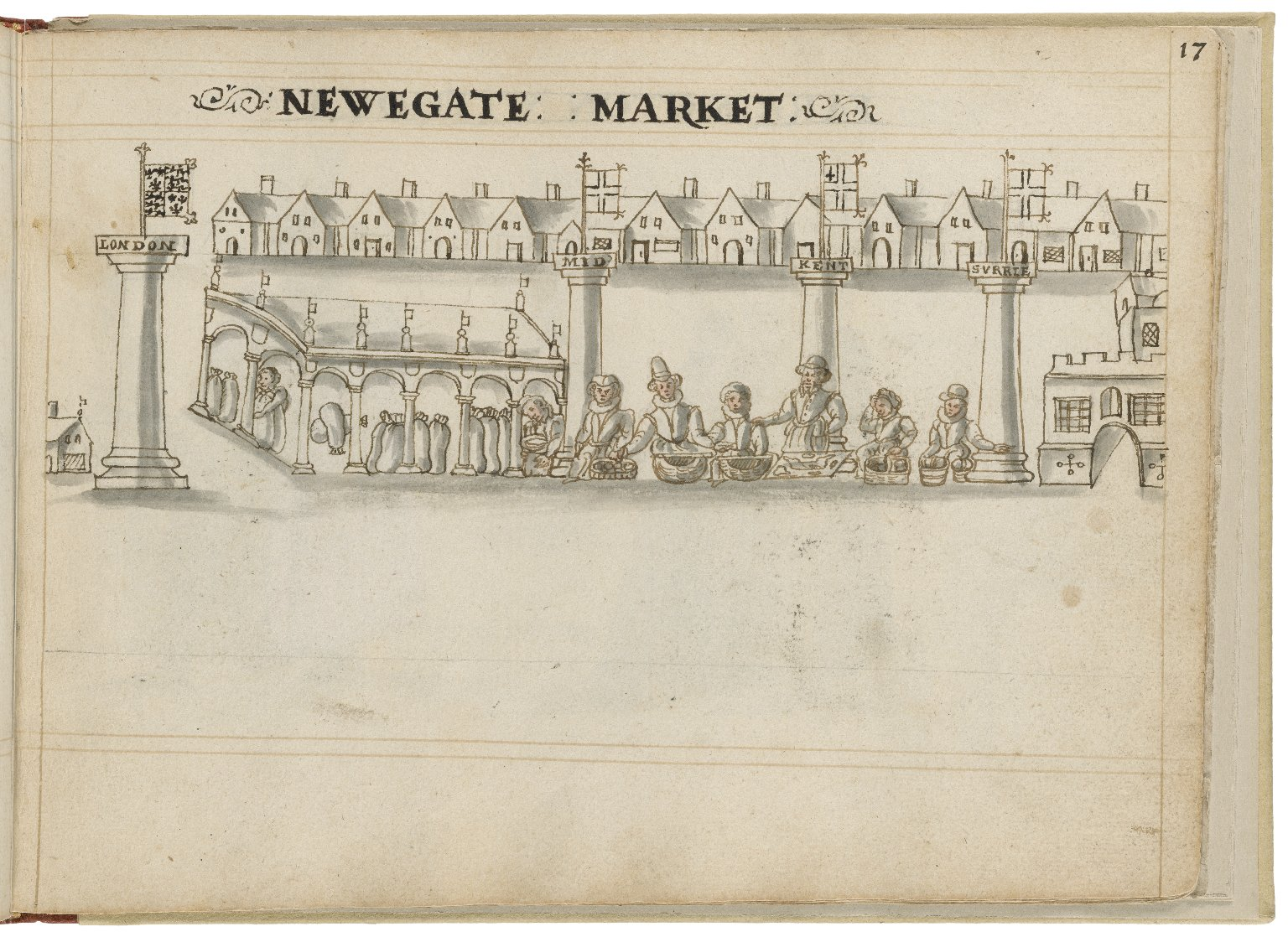 Drawing of Newgate Market by Hugh Alley. Image courtesy of the Folger Digital Image Collection.