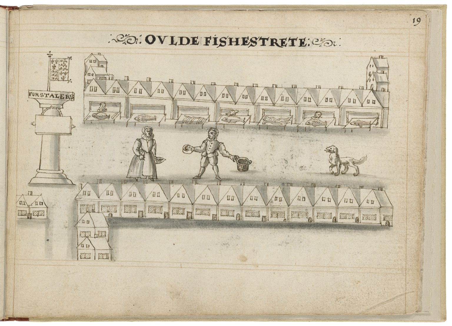 Drawing of Old Fish Street by Hugh Alley. Image courtesy of the Folger Digital Image Collection.