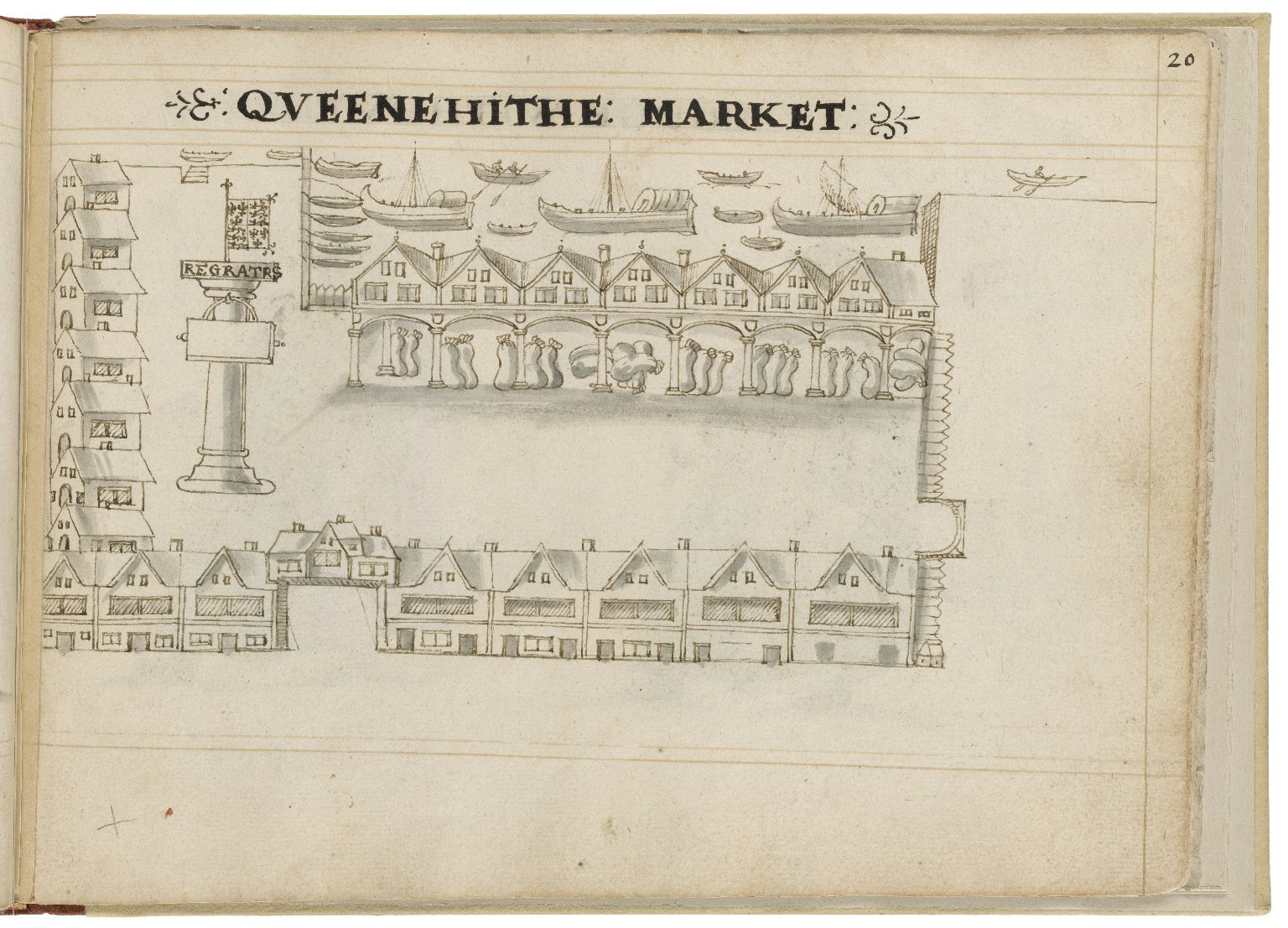 Drawing of Queenhithe by Hugh Alley. Image courtesy of the Folger Digital Image Collection.