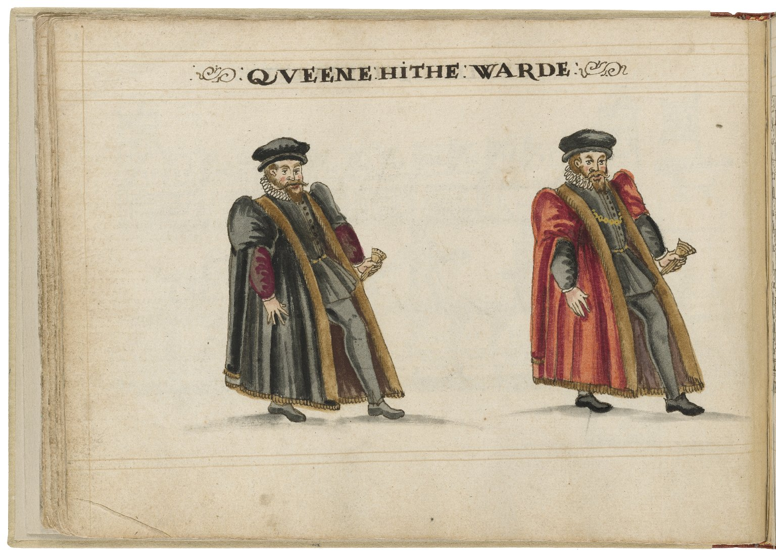 Watercolour painting of the alderman and deputy in charge of Queenhithe Ward by Hugh Alley. Image courtesy of the Folger Digital Image Collection.