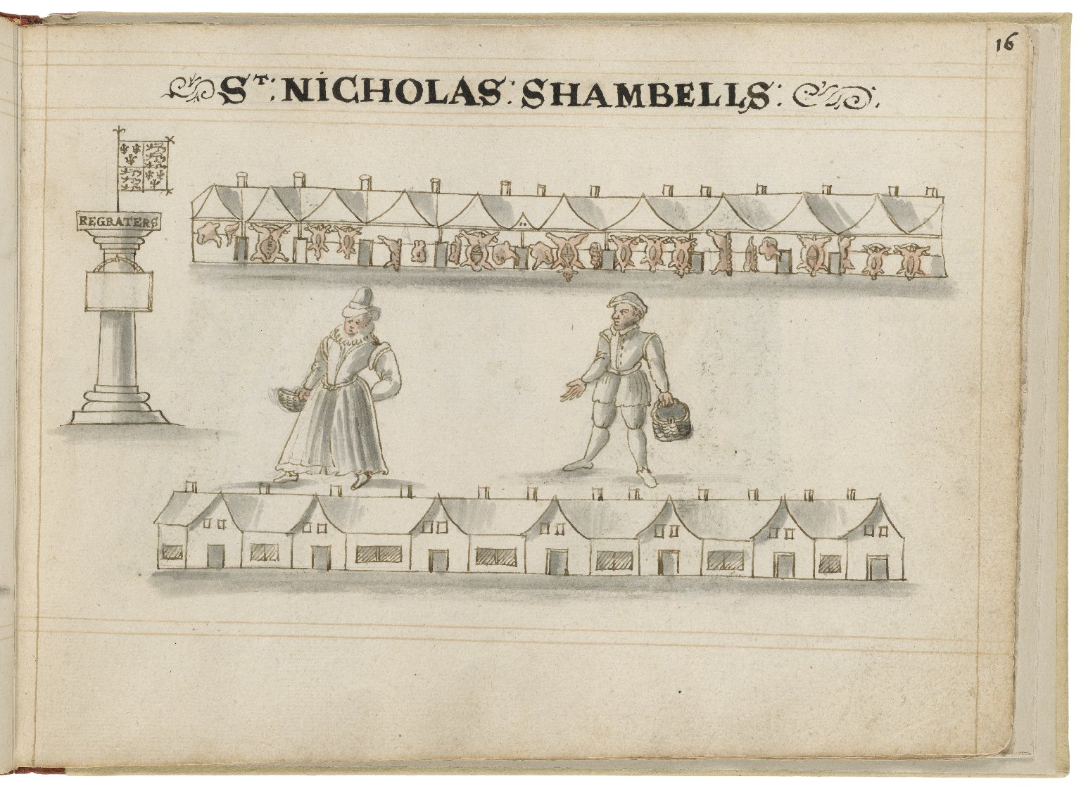 Drawing of St. Nicholas Shambles by Hugh Alley. Image courtesy of the Folger Digital Image Collection.