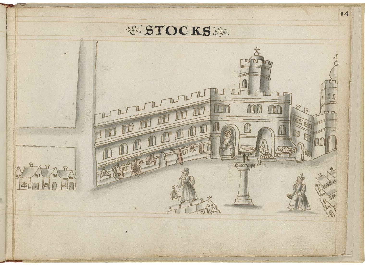 Drawing of Stocks Market by Hugh Alley. Image courtesy of the Folger Digital Image Collection.