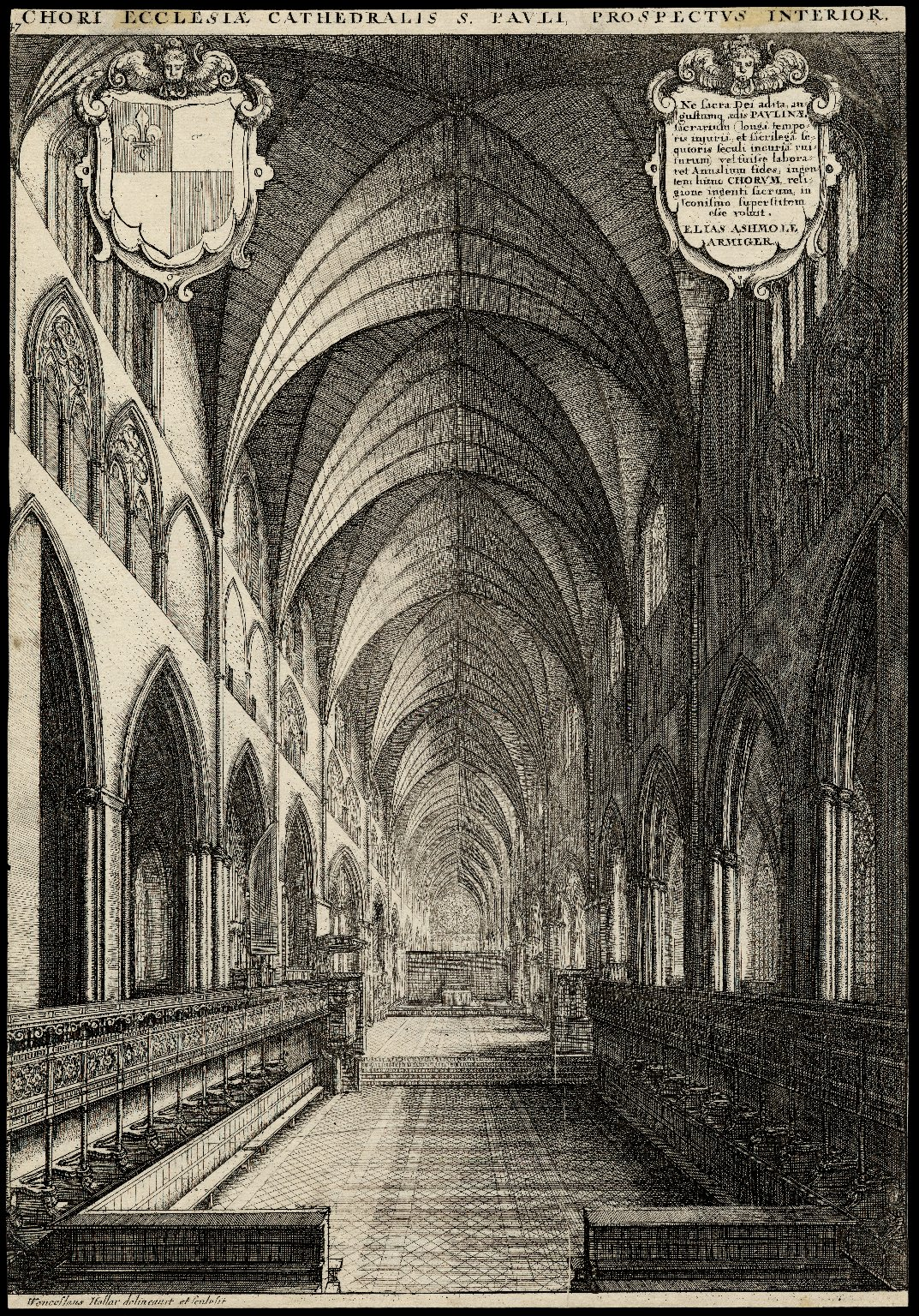 Engraving of the interior of St. Paul's Cathedral by Wenceslaus Hollar. Image courtesy of the Folger Digital Image Collection.