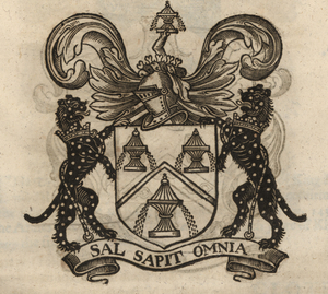 The coat of arms of the Salters' Company, from Stow (1633). [Full size image]