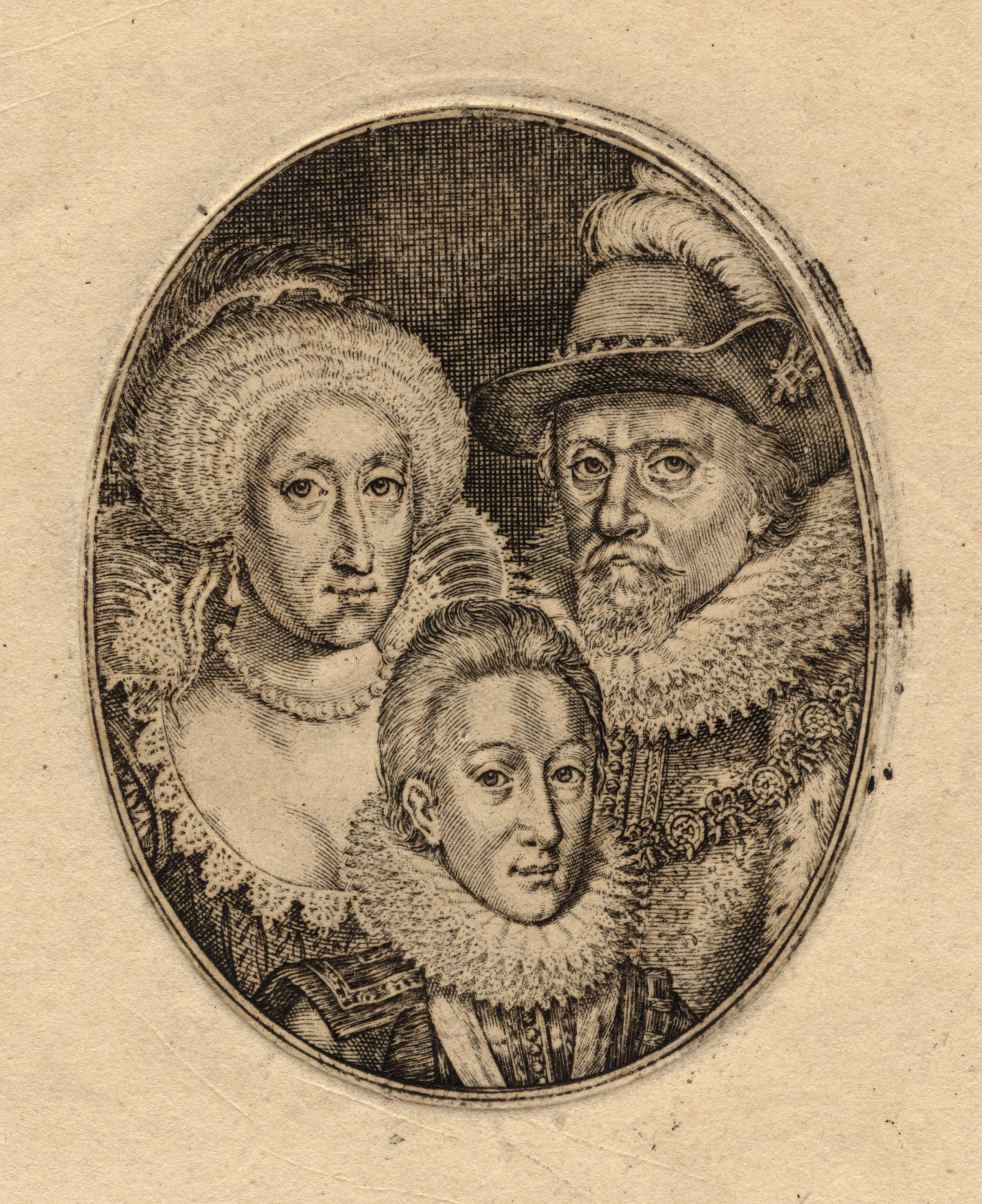 Engraving of Anne of Denmark, Charles I (in boyhood), and James VI and I by Simon van de Passe. Image courtesy of the National Portrait Gallery (UK).