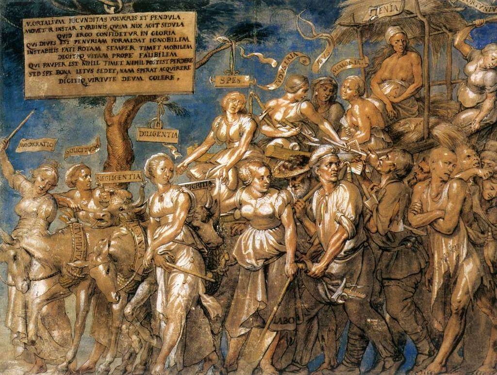 The Triumph of Poverty, painted by Lucas Vosterman the Elder in the first half of the sixteenth century. Image courtesy of Wikimedia Commons.