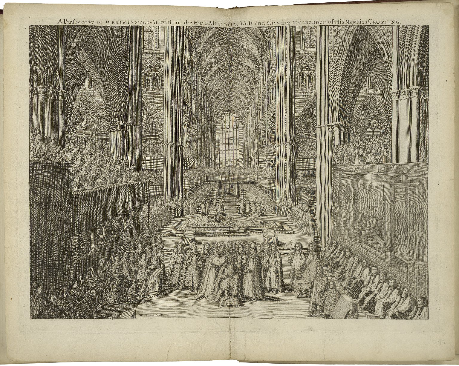 View of the interior of Westminster Abbey during the coronation of James I. Image courtesy of the Folger Digital Image Collection.