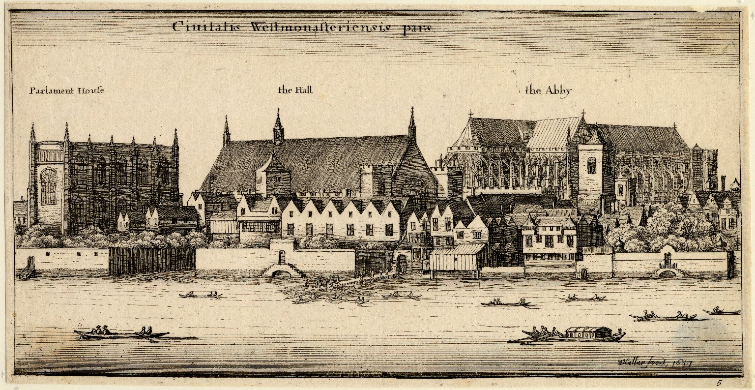 View of Westminster from the River Thames by Wenceslaus Hollar. Image courtesy of the Folger Digital Image Collection.