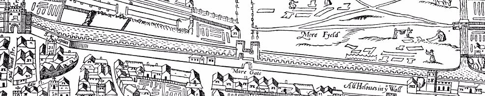 London Wall on the Agas map, depicted here between Cripplegate and Bishopsgate.