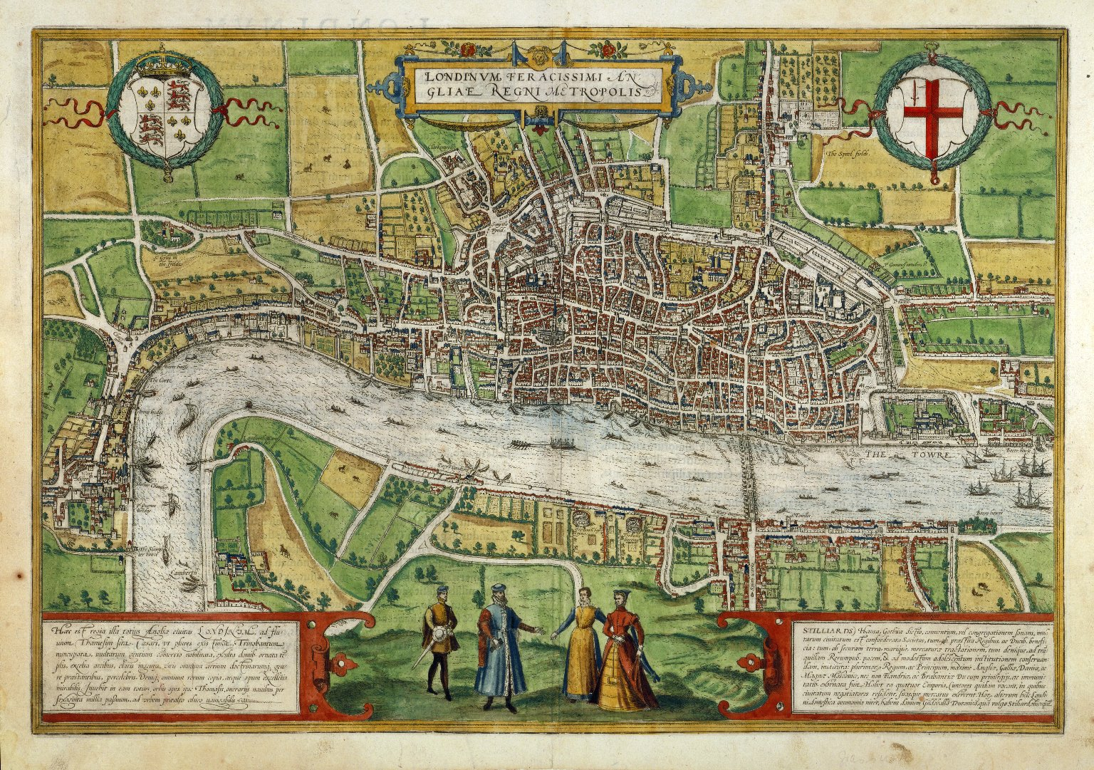 Hand-coloured map of London cut from 1635 edition of Georg Braun and Franz Hogenberg, Civitatis Orbis Terrarum.  MAP L85c no.27 (Digital Image File 3371). Used by permission of the Folger Shakespeare Library under a CC BY-SA 4.0 license. For better image resolution, view the image in LUNA.