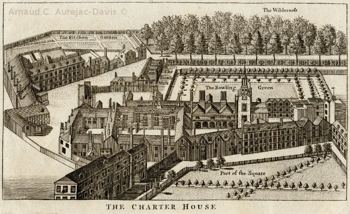 Eighteenth-century engraving, showing that the new Charterhouse maintained much of its original architecture and enormous grounds.  Image courtesy of the Humanities Research Institute (HRI).