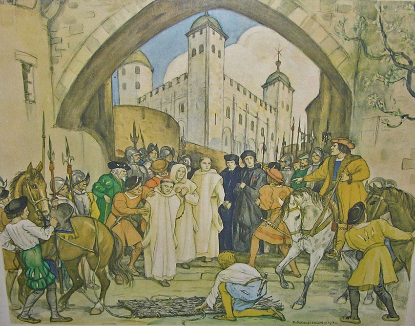 The Breaking of the Storm, depicting Houghton and two other English Carthusians in the moments leading up to their execution. Houghton is the first person in line. Image courtesy of the The Beauvale Society.
