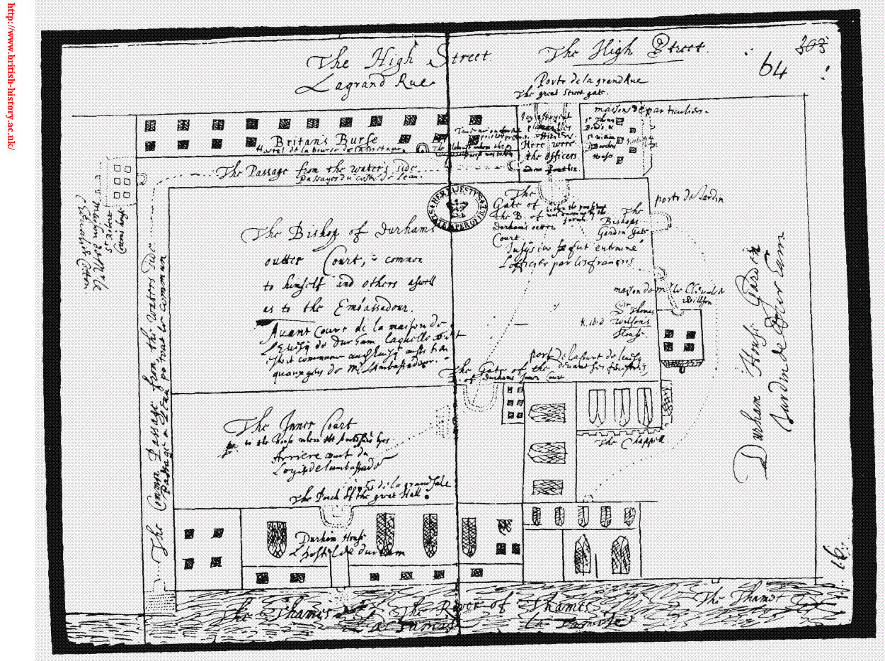 Plan of Durham House in 1626. Image courtesy of BHO.