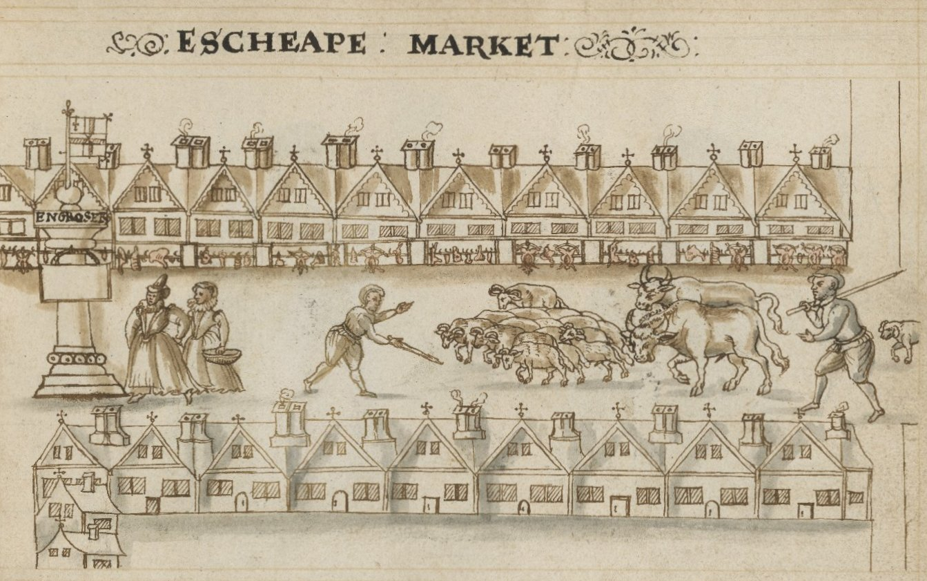 Drawing of Eastcheap by Hugh Alley. Image courtesy of the Folger Digital Image Collection.