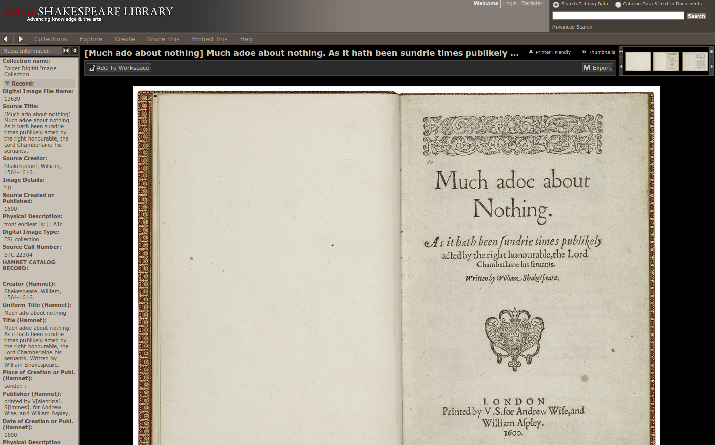 Screen capture of Much Ado About Nothing quarto (1600) in LUNA.