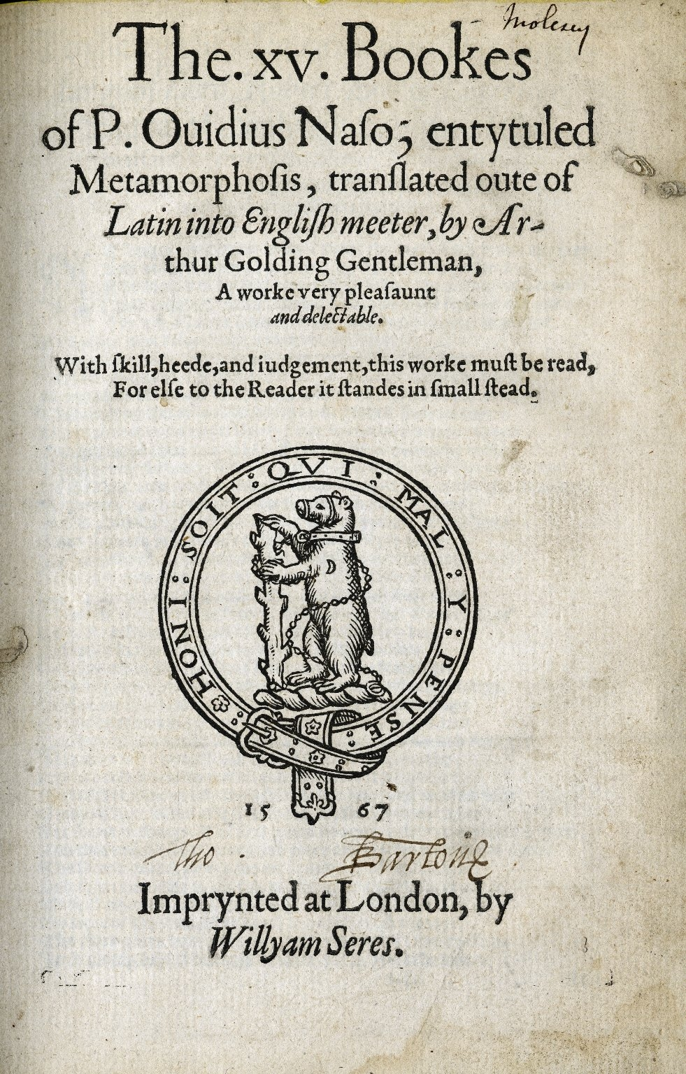 Title page of Ovid's Metamorphoses (1567, trans. Arthur Golding). Image courtesy of the Folger Digital Image Collection.