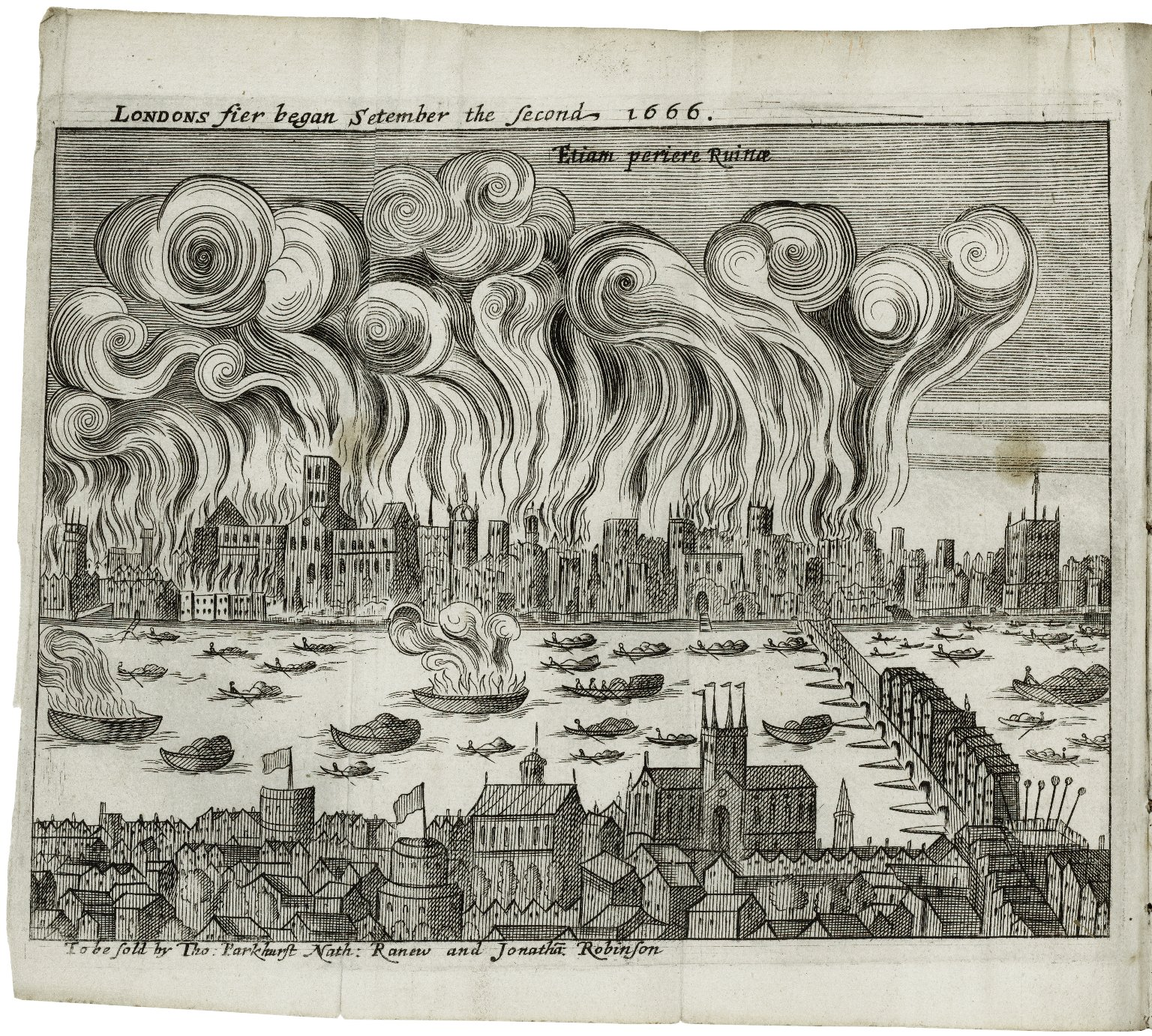 Londons Fier began Setember the Second 1666 (Samuel Rolle). Image courtesy of the Folger Digital Image Collection.