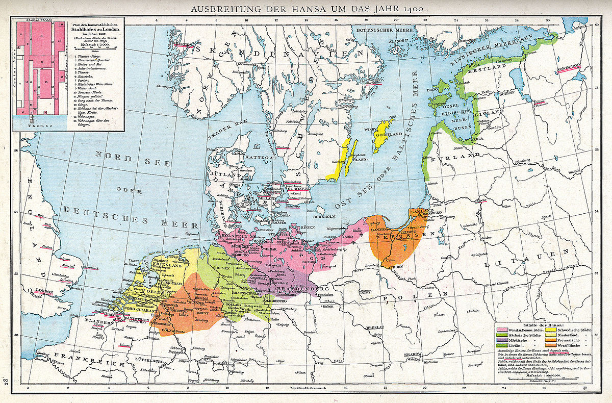 Map of the Hanseatic League in Europe circa 1400, as depicted in Gustav Droysen's Allgemeiner Historischer Handatlas (Plate 28). Image courtesy of Wikimedia Commons.