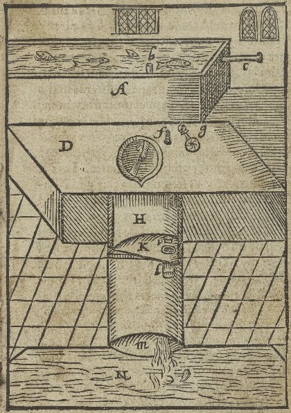 Diagram of a flushable toilet from Sir John Harington's Metamorphosis Upon Ajax