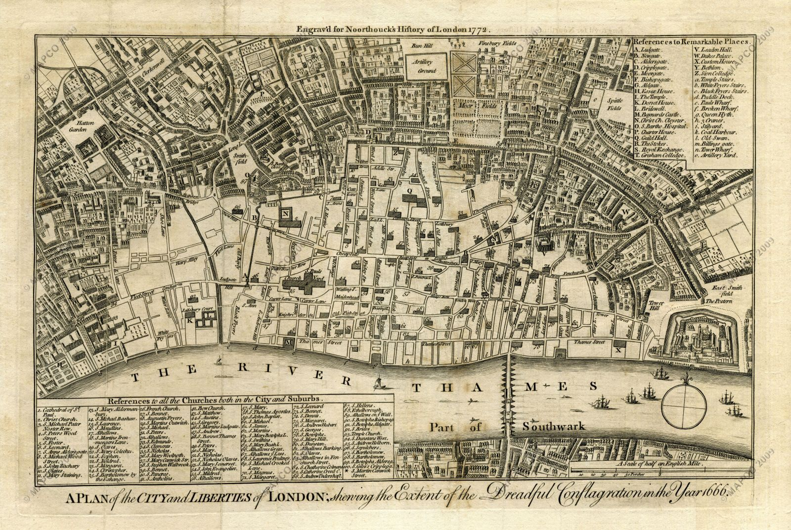 A Plan of the City and Liberties of London; Shewing the Extent of the Dreadful Conflagration in the Year 1666 (Wenceslaus Hollar). Image courtesy of Map and Plan Collection Online (MAPCO).
