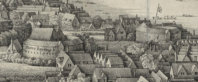 The Bear Garden  (left) and the Bull Baiting arena (right) as depicted by Hollar's long view map of 1647. Image courtesy of the Folger Digital Image Collection.